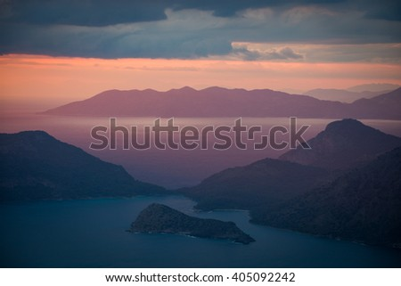Sunset on the Mediterranean coast in Turkey - stock photo