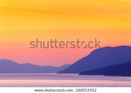 Sunset on the Mediterranean Sea. Adriatic Sea. - stock photo