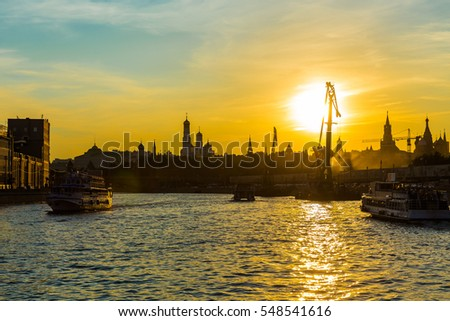 Sunset on the Moscow river