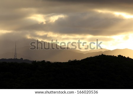 Sunset on the National Forest El Yunque in Puerto Rico - stock photo