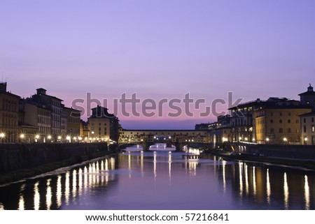 Sunset on the Ponte Vecchio in Florence, Tuscany, Italy - stock photo