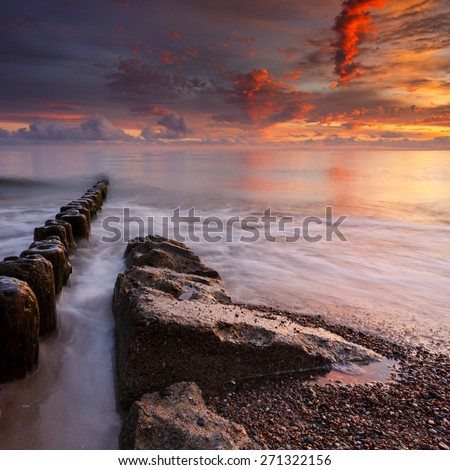 Sunset on the Sea.Baltic Sea in north Poland/ Colorful Sea Sunset - stock photo