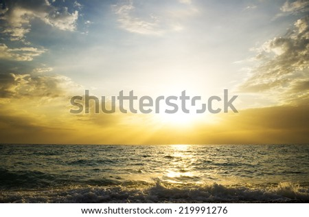 sunset on the sea. Nature composition.