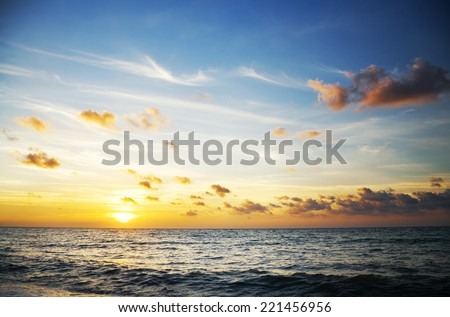 sunset on the sea. Nature composition. - stock photo
