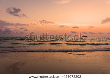 sunset on the Tropical beach in Thailand. - stock photo