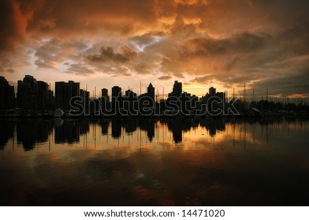 Sunset on Vancouver - stock photo