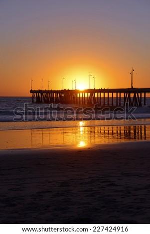 Sunset on Venice Beach with Pier, Los Angeles, California, USA - stock photo