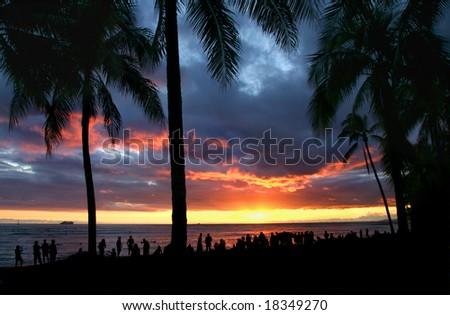 Sunset on Waikiki Beach - stock photo