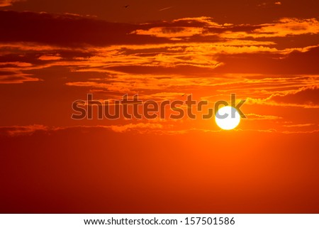 Sunset orange sky background at evening with clouds - stock photo