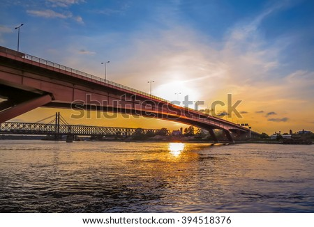 Sunset over a bridge