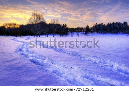 Sunset over a Midwest Prairie - stock photo