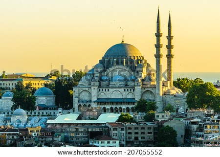 Sunset over a mosque in Istanbul - stock photo
