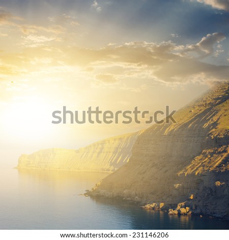 sunset over a sea - stock photo