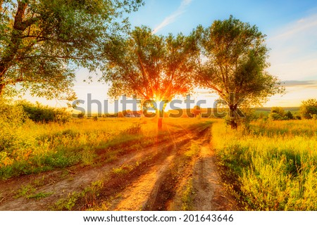 Sunset over a village in russian countryside - stock photo