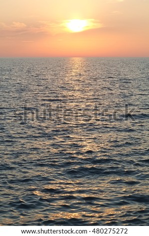 Sunset over Adriatic Sea in Kamenjak, Croatia Vertical
