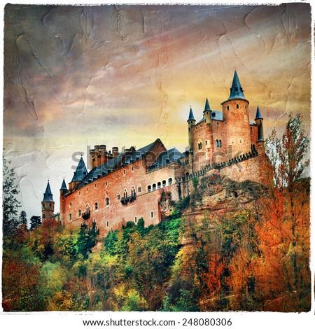 sunset over Alcazar castle, Spain, Segovia - stock photo