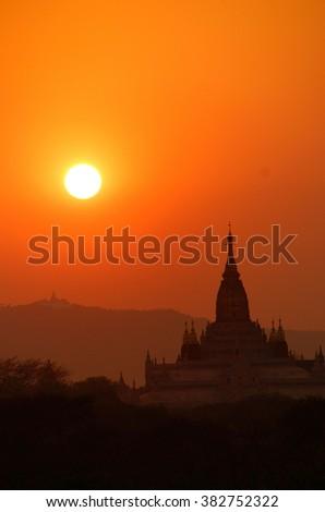 Sunset over Ananda Phaya Temple in Bagan, Myanmar (Burma) - stock photo