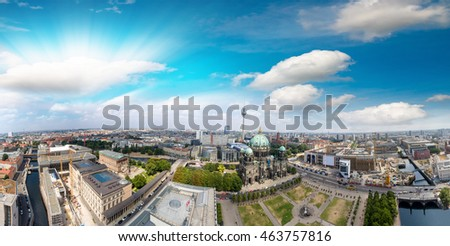 Sunset over Berlin, aerial view of Cathedral and surrounding areas.