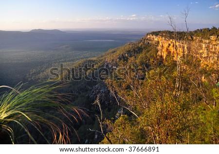 Sunset over Blackdown Tablelands National Park - stock photo