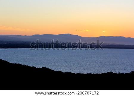 Sunset over Byron Bay - stock photo