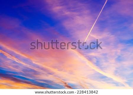 sunset over city - stock photo