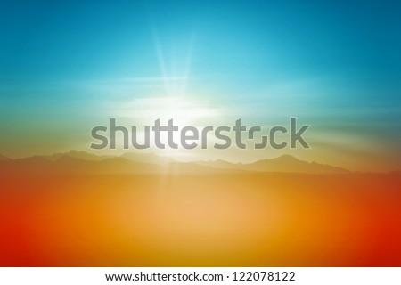 Sunset Over Desert Sky Background Landscape - stock photo