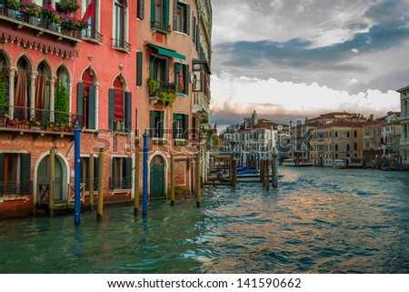 Sunset over Grand Canal in Venice - stock photo
