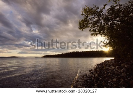 Sunset over Green Lake, Canada - stock photo