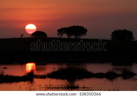Sunset over Isimangaliso Hide. Photo taken at Mafazana Hide in Isimangaliso Wetland Park. Kwazulu Natal. South africa. A world heritage site. Silhouette. - stock photo