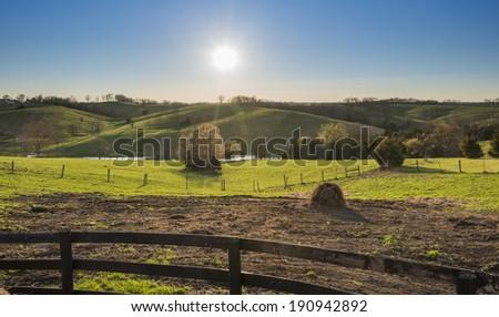 Sunset over Ketucky Farmland - stock photo