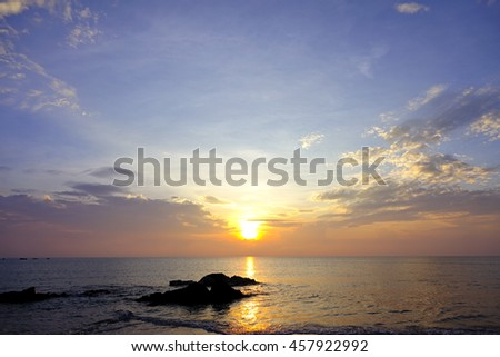 sunset over lake,select focus with shallow depth of field:ideal use for background