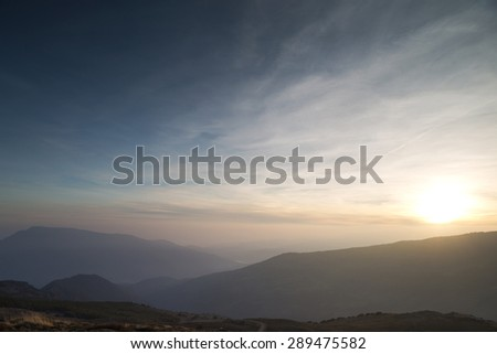 sunset over las alpujarras - stock photo