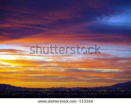 Sunset over Las Vegas - stock photo