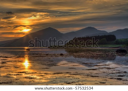 Sunset over Loch Linnhe in Scotland - stock photo