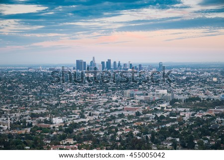 Sunset over Los Angeles city skyline
