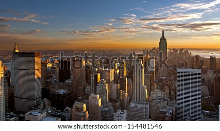 Sunset over Manhattan , panoramic view - stock photo