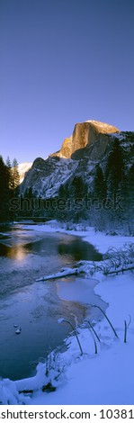 Sunset over Merced River and Half Dome, Yosemite, California - stock photo