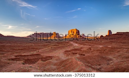 Sunset over Monument Valley.