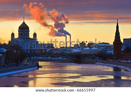 Sunset over Moscow - stock photo