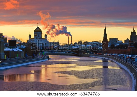 Sunset over Moscow river, Moscow - stock photo
