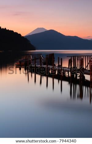 Sunset over Mount Fuji - stock photo