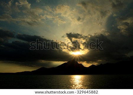 Sunset over mountain at Garda Lake in Italy