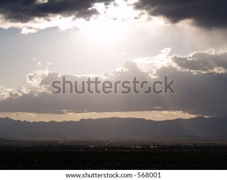 Sunset over mountain - Henderson, NV - stock photo