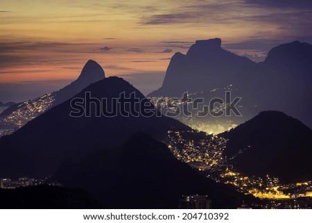 Sunset over mountains in Rio de Janeiro, Brazil - stock photo
