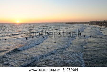 Sunset over Newport Beach California - stock photo