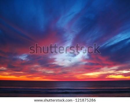 Sunset over Pacific Ocean, California - stock photo
