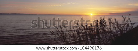 Sunset over Pacific Ocean near Santa Barbara, California - stock photo