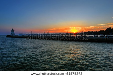 sunset over port dover on lake erie - stock photo
