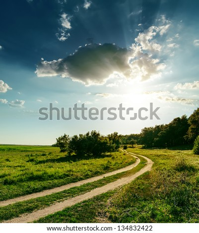 sunset over road in wood