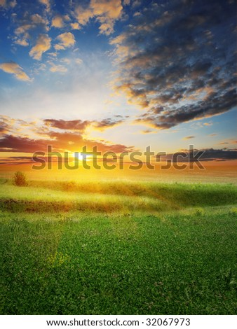 Sunset over rural landscape